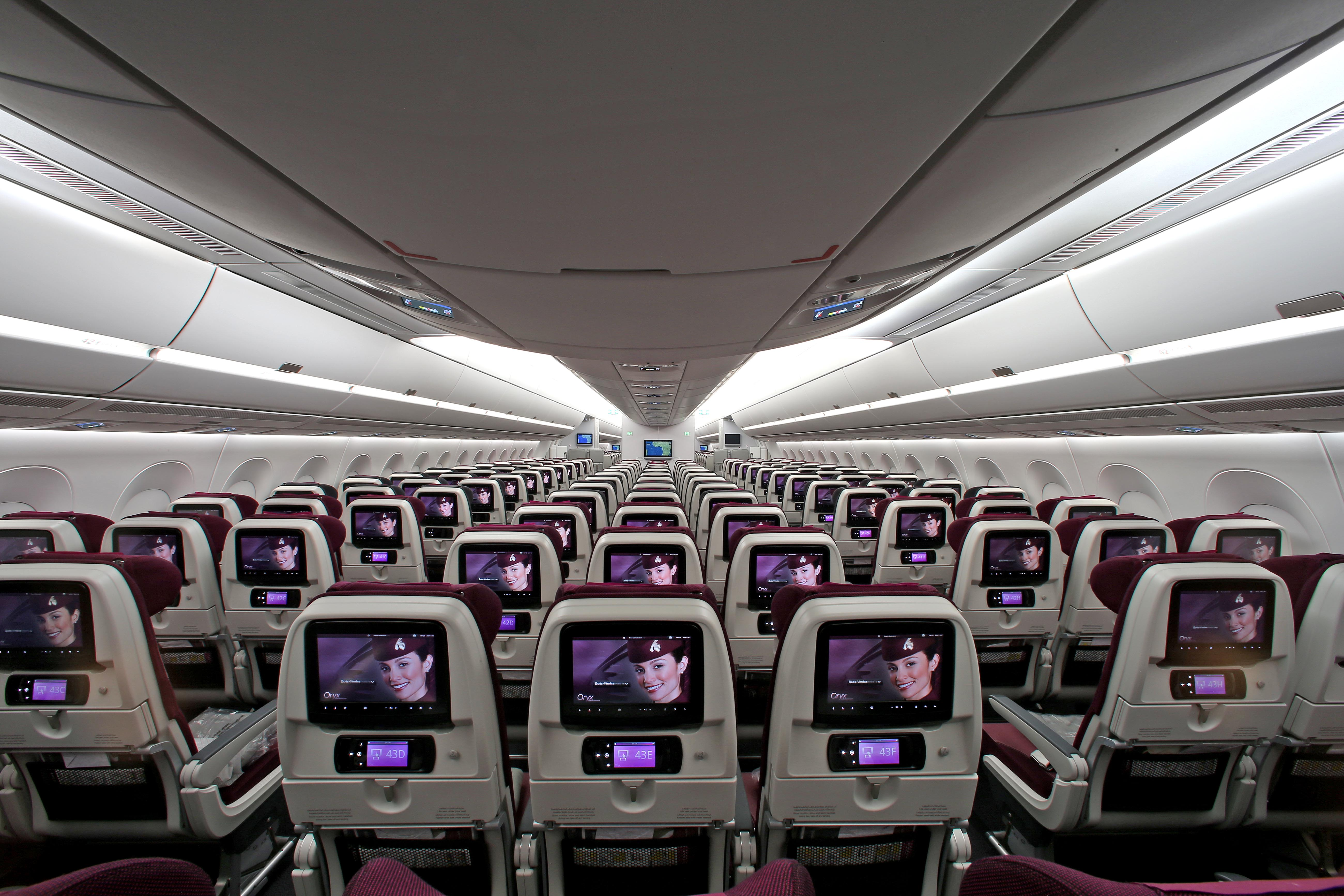 Picture of the Economy Class aboard the Qatar Airbus A350 - Picture by Qatar Airways.