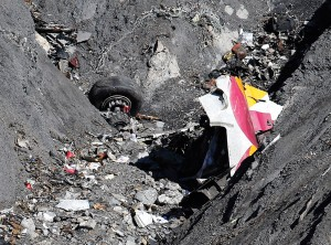 Image #: 35791561 Wreckage of the Airbus A320 is seen at the site of the crash, near Seyne-les-Alpes, french Alps March 26, 2015. A young German co-pilot locked himself alone in the cockpit of Germanwings flight 9525 and set it on course to crash into an Alpine mountain, killing all 150 people on board including himself, prosecutors said on Thursday. French prosecutors offered no motive for why 27-year-old Andreas Lubitz apparently took the controls of the Airbus A320, locked the captain out of the cockpit and deliberately set it veering down from cruising altitude at 3,000 feet per minute. REUTERS /EMMANUEL FOUDROT /LANDOV