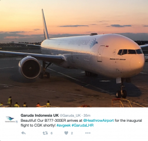 Tweet made by Garuda Indonesia upon the flight's arrival.