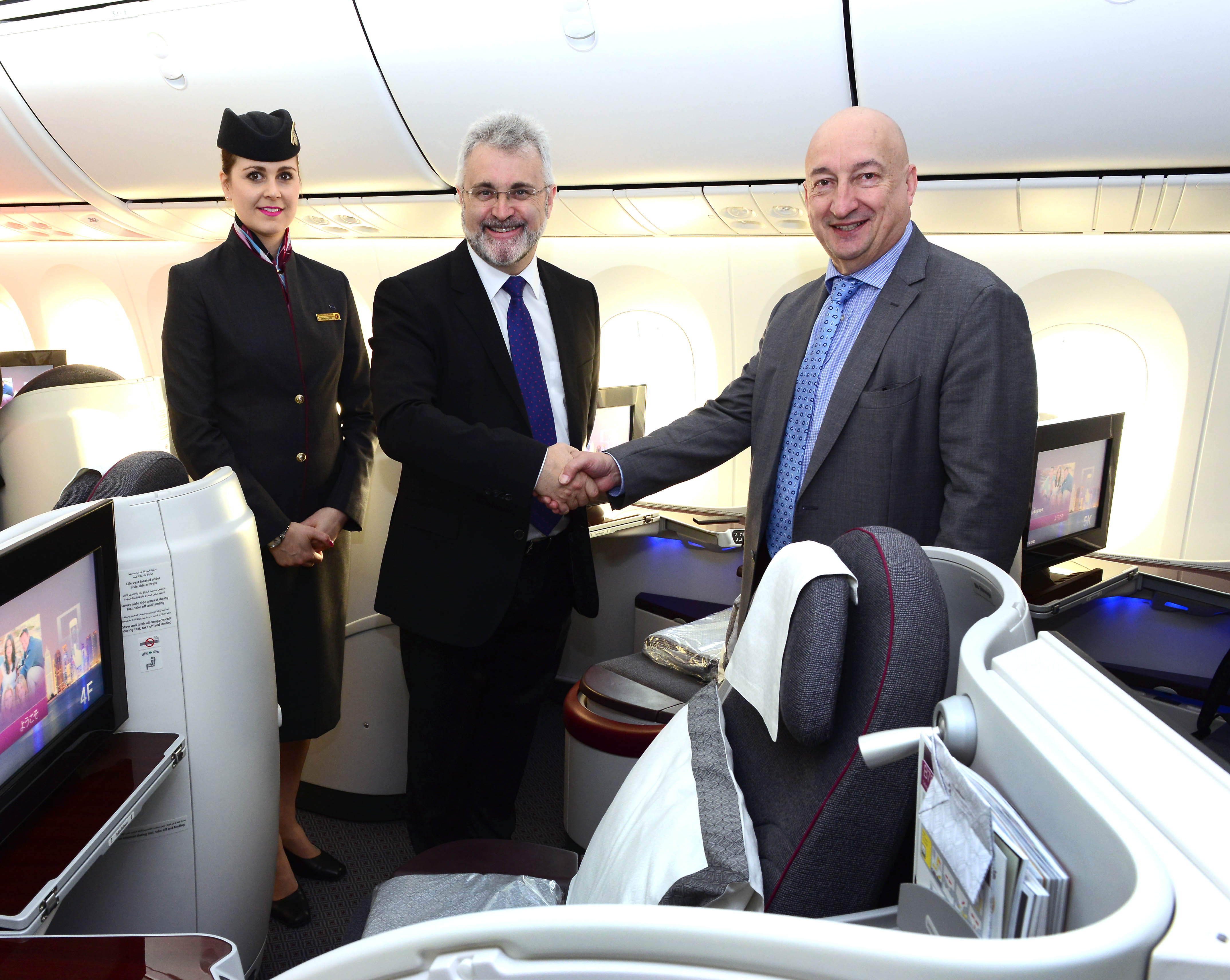 Qatar Airways' Chief Commercial Officer, Dr. Hugh Dunleavy (right), who travelled on board the inaugural flight was greeted by Birmingham Airport's Chief Executive Officer, Mr. Paul Kehoe (left). Picture by Qatar Airways.