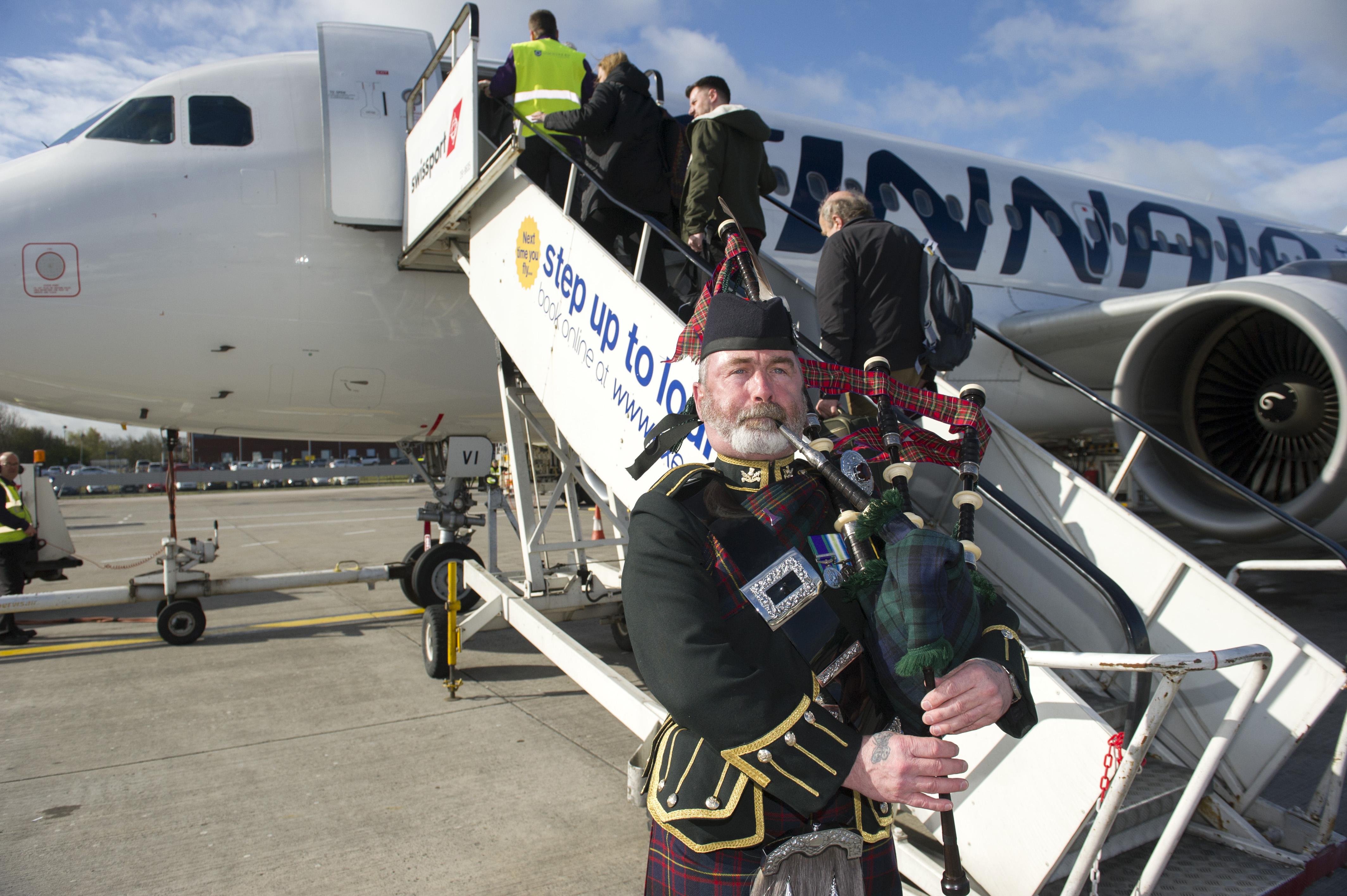 Finnair inaugural flight form Edinburgh Airport to Helsinki. Pictured is Edinburgh Airport Chief Executive Gordon Dewar, Fredrik Charpentier and Finnair Captain Antti Rautianen. © Lesley Martin 2016