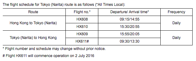 The flight schedule for the 2x daily service.