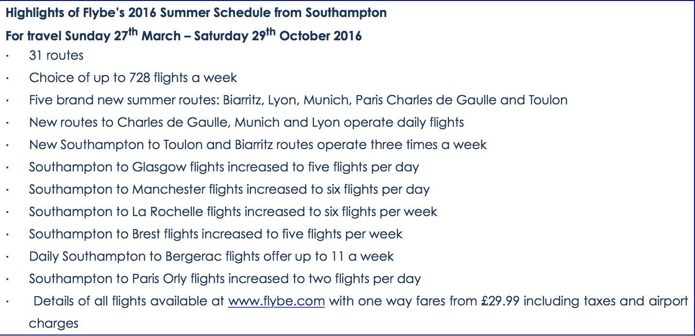 Overview of the airline's summer schedule operations for 2016 in Southampton.