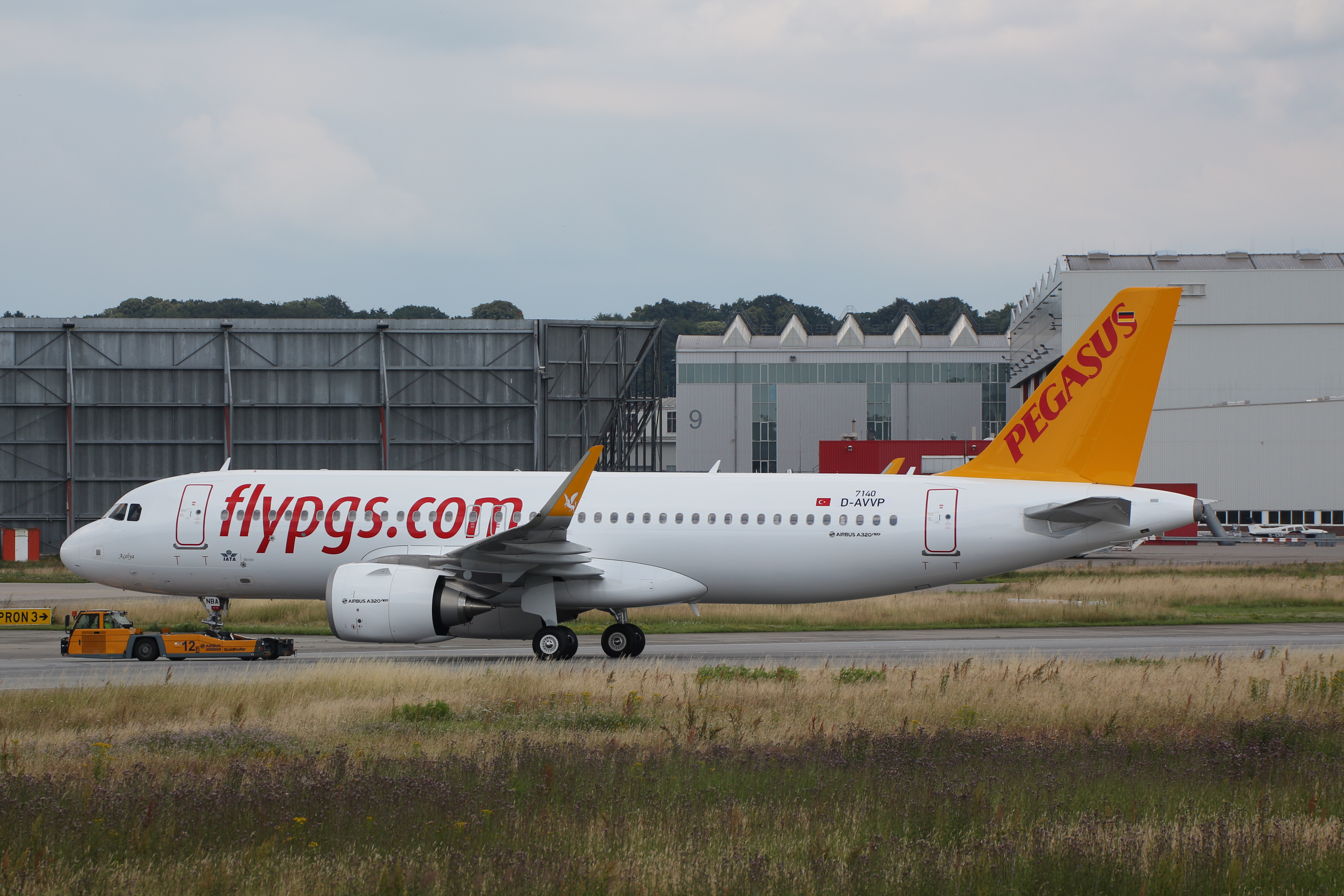 Picture of TC-NBA, the first Pegasus A320neo being pulled on the tug at Hamburg Finkenwerder - Picture from XFW Spotter