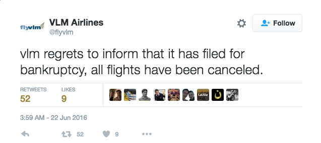 The airline posted on Twitter that they are to go bankrupt.