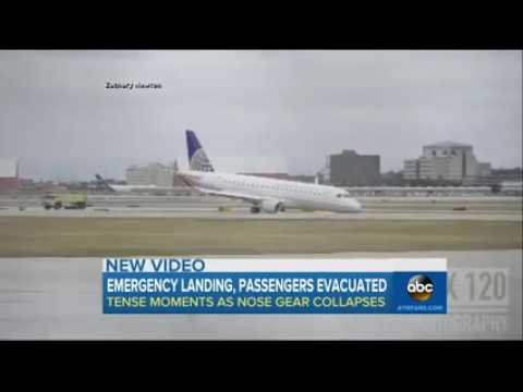 Alert United Express Embraer E175 Nose Gear Collapsed