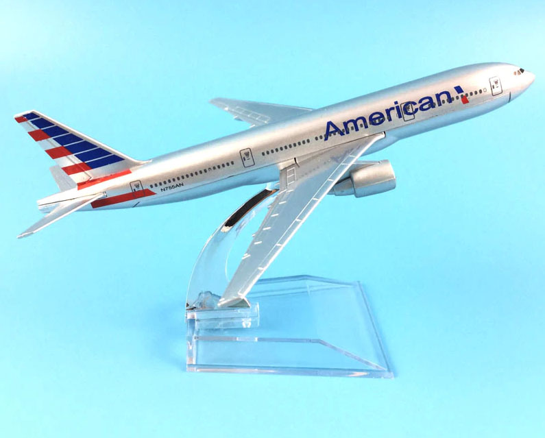 American Boeing 777-200ER metal model aircraft