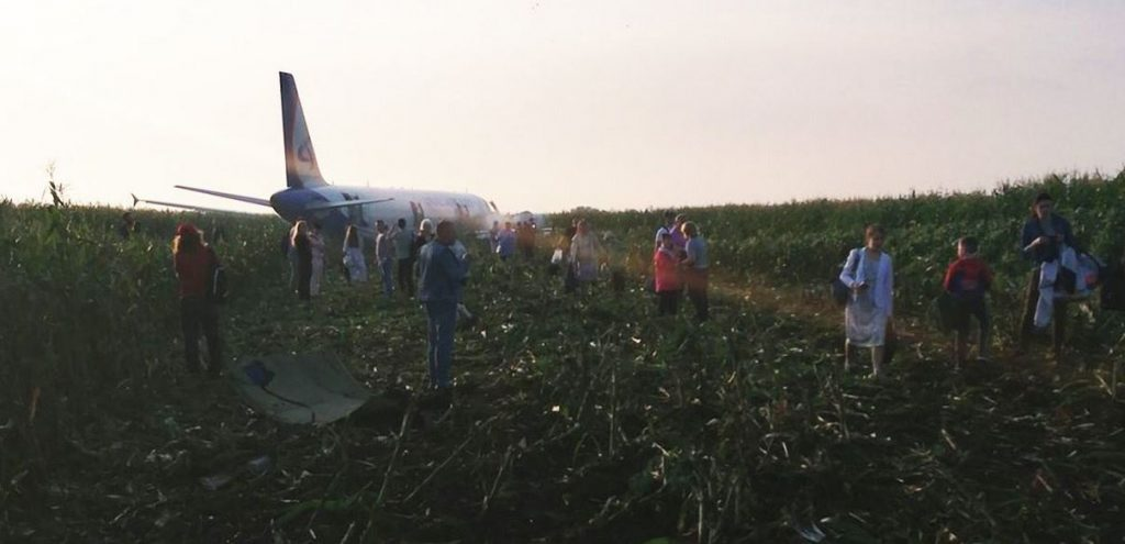 An Ural Airlines A321 made a crash landing in a field after