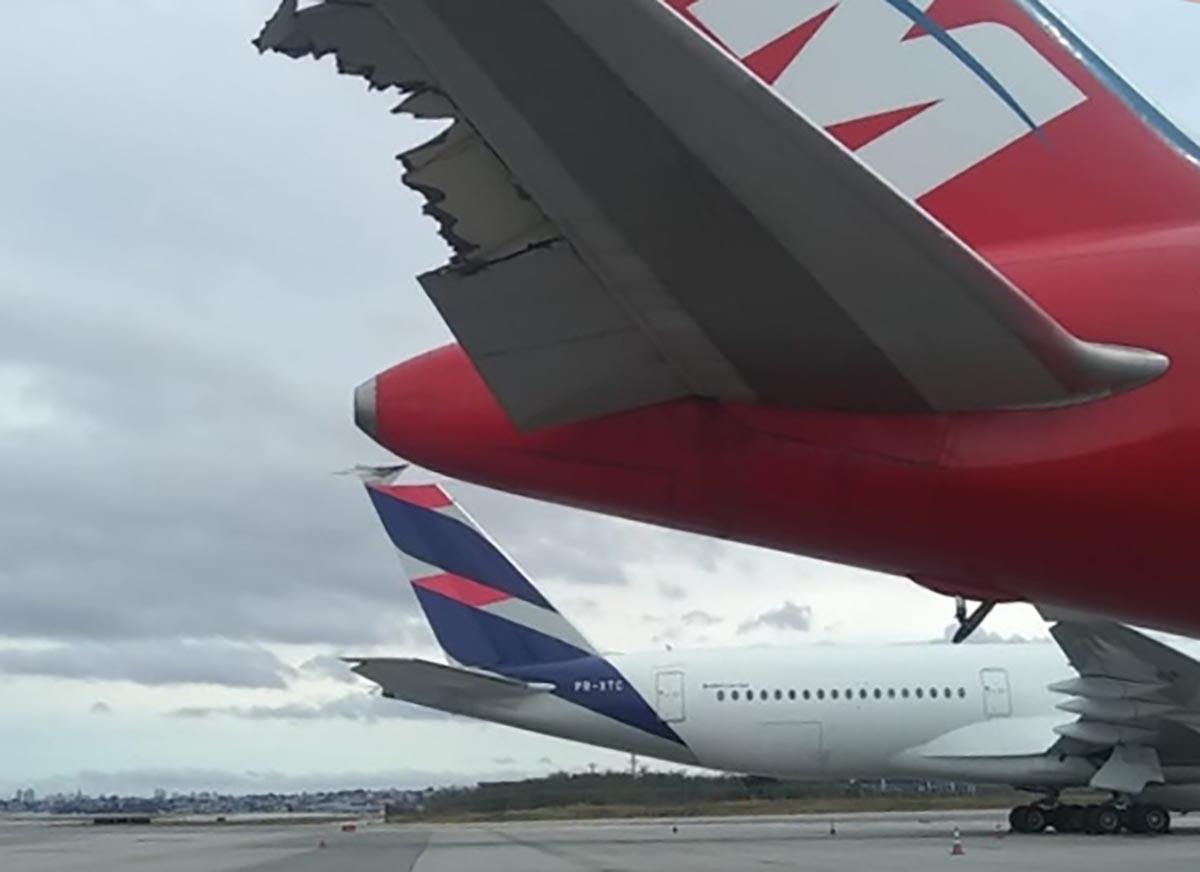 Aeronaves Latam colidem no aeroporto de Guarulhos